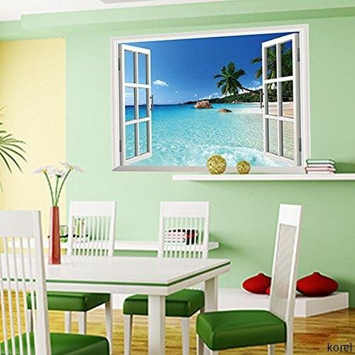 Large removable beach sea 3d window decal wall sticker for Home decor 3d wallpaper