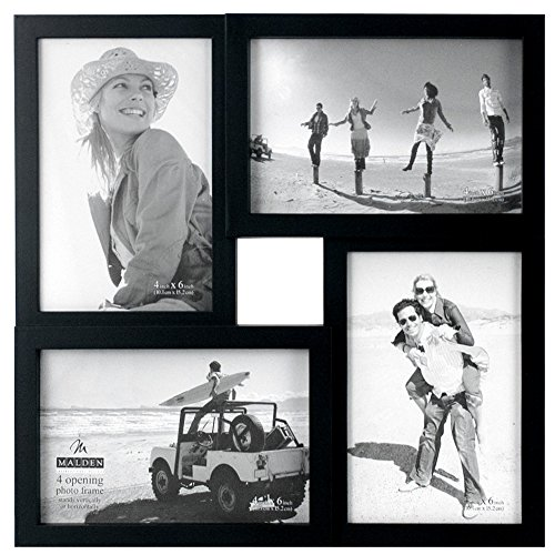 Malden 4×6 4-Opening Matted Collage Picture Frame, Displays Four, Black