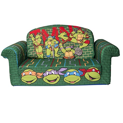Marshmallow Furniture Children's 2 in 1 Flip Open Foam Sofa, Nickelodean's Teenage Mutant Ninja Turtles, Retro, by Spin Master