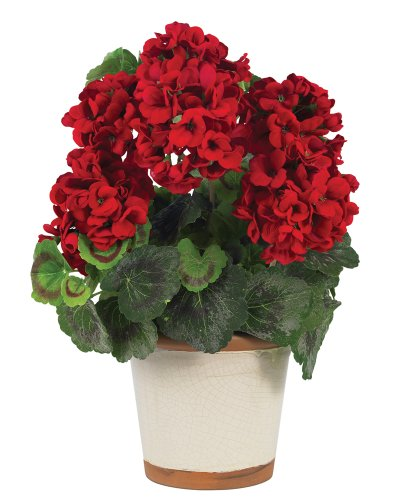 Nearly Natural 4691 Geranium Decorative Silk Plant, Red