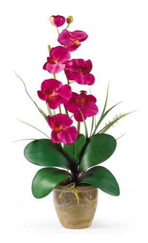 Nearly Natural Single Stem Phalaenopsis Orchid Silk Flower Arrangement