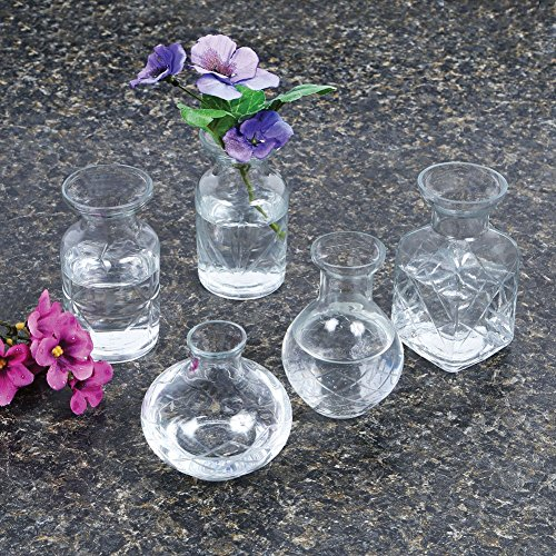 Small Cut Glass Vases In Differing Unique Shapes Set Of Five By