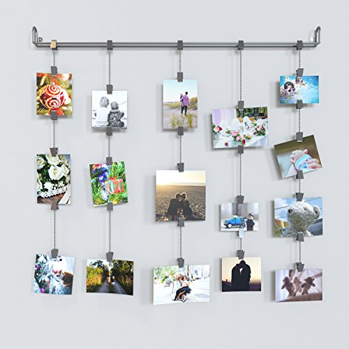 Photo Hanging Clips hanging photo organizer rail with chains and 32 clips gray - home